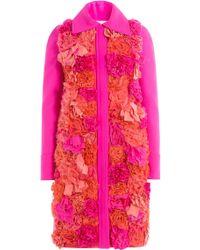 Victoria, Victoria Beckham - Appliquéd Flower Coat - Lyst