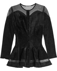 Alexander McQueen - Chenille Cardigan With Sheer Panels - Lyst