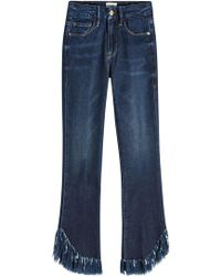 FRAME - Straight Leg Jeans Le Crop Mini Boot Shredded Raw mit Fransen - Lyst