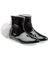 Joshua Sanders - Patent Leather Boots With Fur Pom-pom - Lyst