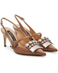 Sergio Rossi - Embellished Leather Court Shoes - Lyst