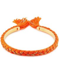 Aurelie Bidermann - 18k Gold Plated Bangle With Cotton Braid - Lyst