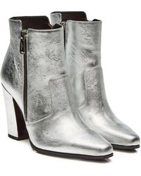 Balmain - Metallic Leather Ankle Boots - Lyst