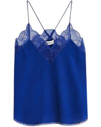 Zadig & Voltaire   Christy Silk Camisole With Lace   Lyst