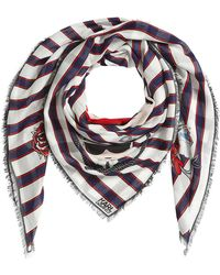 Karl Lagerfeld - Captain Karl Striped Scarf With Silk - Lyst