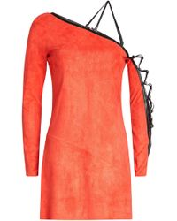 Jitrois - Suede Mini Dress With Leather Trim - Lyst