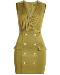 Balmain - Army Green Satin Mini Dress - Size 10 - Lyst