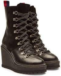 Moncler - Shanice Platform Ankle Boots With Suede And Leather - Lyst