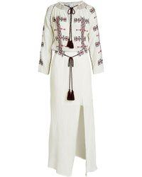 Christophe Sauvat - Embroidered Cotton Maxi Dress - Lyst