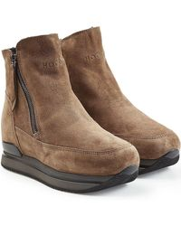 Hogan - Suede Platform Ankle Boots - Lyst