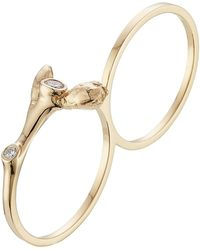 Sophie Bille Brahe - Arbre 18kt Yellow Gold Double Ring With White Diamonds - Lyst