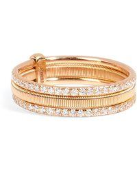Ileana Makri - 18kt Pink Gold Triple Bond Band With White Diamonds - Lyst