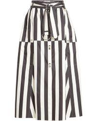 Nina Ricci - Striped Silk Midi Skirt - Lyst