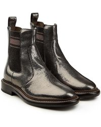 Brunello Cucinelli - Metallic Leather Ankle Boots - Lyst