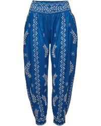Juliet Dunn - Cotton Trousers With White Lotus Embroidery - Lyst