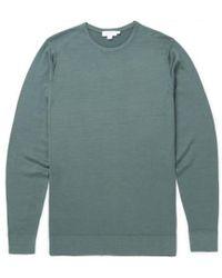 Sunspel - Men's Fine Merino Wool Jumper In Scots Green - Lyst