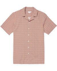 Sunspel - Men's Cotton Printed Camp Collar Shirt In Madder Shibori Flower - Lyst