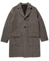 Sunspel - Men's Natural British Wool Overcoat In Grey Oatmeal - Lyst