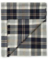 Sunspel - Extra Fine Merino Wool Scarf In Oatmeal/navy Check - Lyst