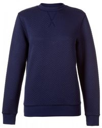 Sunspel - Women's Quilted Jacquard Cotton Sweatshirt In Navy - Lyst