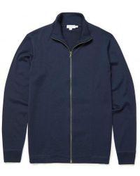 Sunspel - Men's Vintage Wool Zip Through Jacket In Navy - Lyst