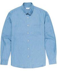 Sunspel - Men's Cotton Linen Button-down Shirt In Light Blue - Lyst