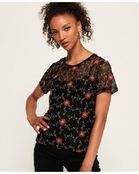 Superdry - Madison Embroidered Lace T-shirt - Lyst