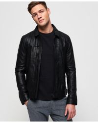 Superdry - Curtis Leather Jacket - Lyst