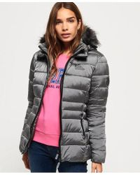 Superdry - Taiko Padded Faux Fur Jacket - Lyst