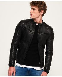 Superdry - Hero Leather Racer Jacket - Lyst