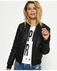 Superdry | Parisian Quilted Faux Leather Bomber | Lyst