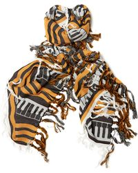 Undercover - Fringed 'piano' Printed Scarf - Lyst