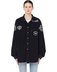 Vetements Embroidered Black Denim Levi's Shirt
