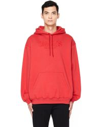 Balenciaga - Sinners Embroidered Red Cotton Hoodie - Lyst