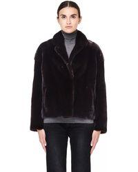 32 Paradis Sprung Freres Short Mink Fur Brown Coat