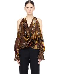 Urban Zen - Velvet Blouse With Open Shoulders - Lyst