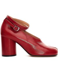 Maison Margiela - Red Leather Tabi Court Shoes - Lyst