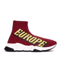 Balenciaga - Europe Printed Speed Trainer Sneakers - Lyst