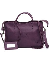 Balenciaga - Blackout City Purple Leather Handbag - Lyst
