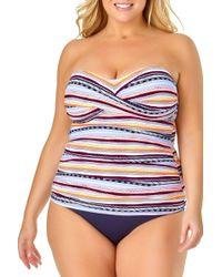 575279354e80d Anne Cole Triangle Stripe Liz Twist Bandeau Tankini Swim Top in Blue - Lyst
