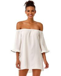 d414924e5a0f2 Anne Cole - Studio Denim Days Off The Shoulder Flounce Tunic Swim Cover Up  - Lyst
