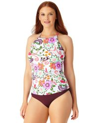Anne Cole - Plus Size Fleetwood Floral High Neck Tankini Swim Top - Lyst
