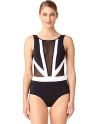 9c651a76a Anne Cole - Hot Mesh Color Block Plunge One Piece Swimsuit - Lyst