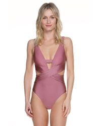 Becca - Ballerina Open Back Plunge Neck One Piece Swimsuit - Lyst