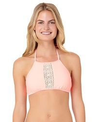 23872756a4f InMocean - Juniors Sunflower Crochet Trim High Neck Halter Swim Top - Lyst