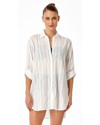 08047c728747e Lyst - Anne Cole Size Live In Color Mesh V Neck Side Shirred T-shirt ...