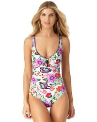Anne Cole - Fleetwood Floral Keyhole Plunge One Piece Swimsuit - Lyst