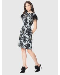 Roman - Floral Dress With Feathers - Lyst