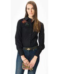 Roman - Black Blouse With Floral Embellishment - Lyst