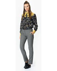 Roman - White And Black Detailed Grey Pants - Lyst